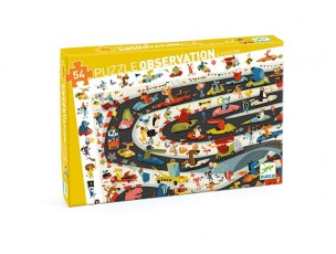 Puzzle observación Rally de coches  Djeco